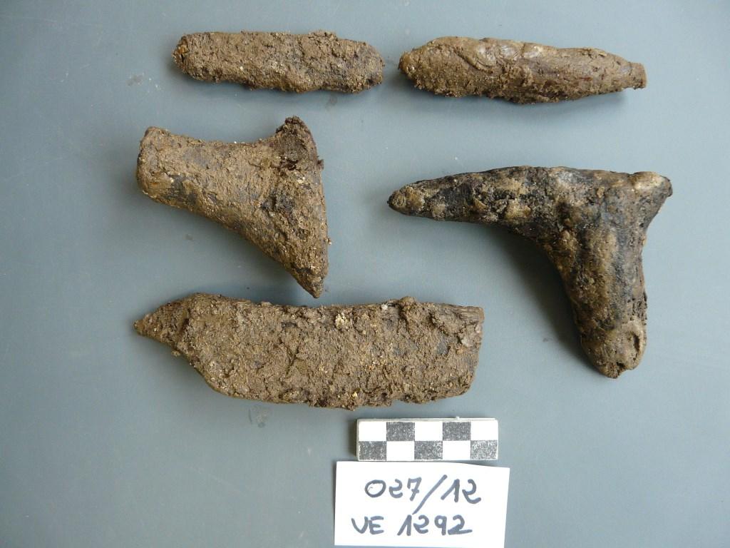 Taló de sabata, plantador i fragments indeterminats de fusta, abans del tractament. Foto: SABCN