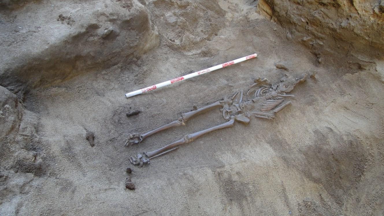 Enterrament amb claus de ferro als seus peus pertanyent al taüt de fusta. Foto: Walter Alegria.