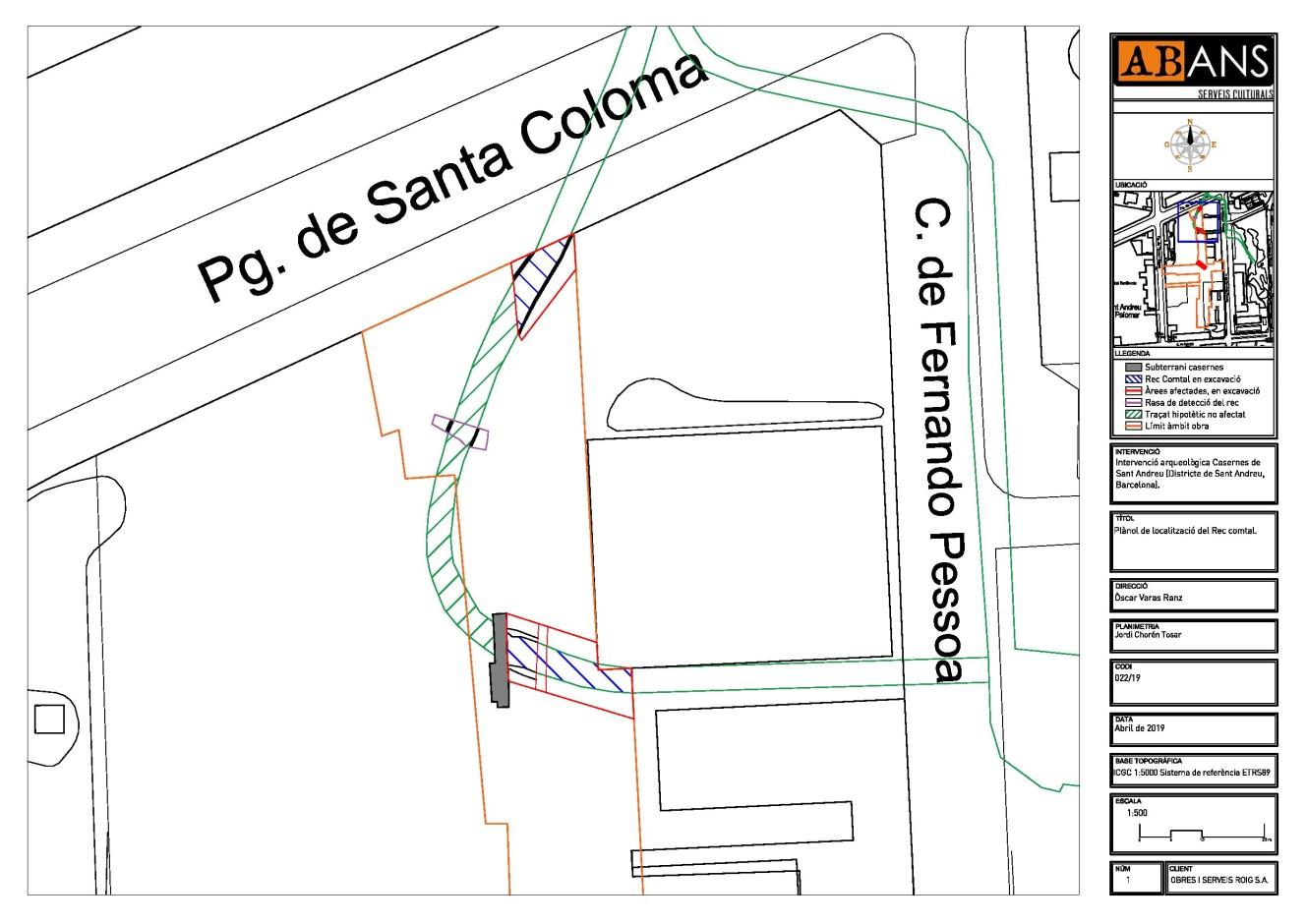 Plànol amb la localització dels dos trams de Rec Comtal localitzats durant la present intervenció. Font: ABANS Serveis Culturals