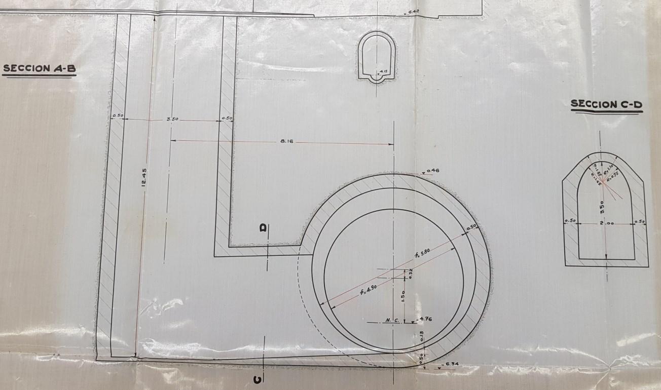 Plànol original amb la secció del pou d'atac i túnel circular. Font: Arxiu Municipal Contemporani de Barcelona.