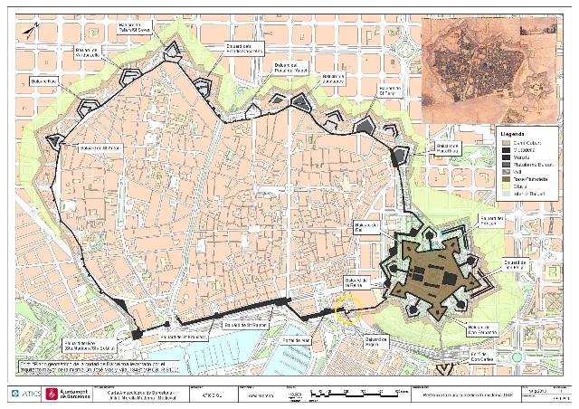 Plànol de Barcelona amb el traçat de les muralles i localització dels Baluards (imatge: Servei d'Arqueologia).
