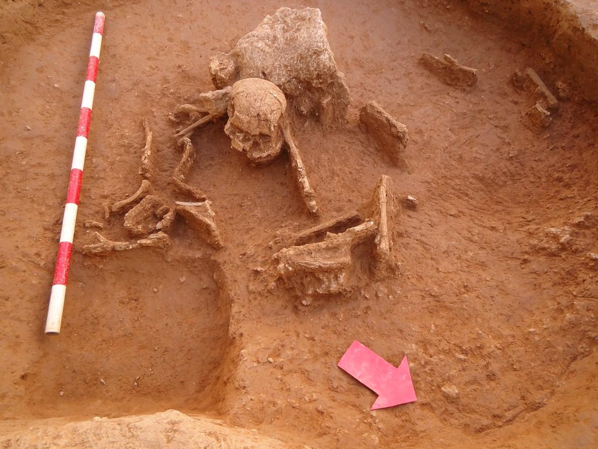 Fossa prehistòrica amb enterrament secundari de la intervenció del carrer del Rec Comtal, 17-19. Foto: Anna Martí (CODEX)