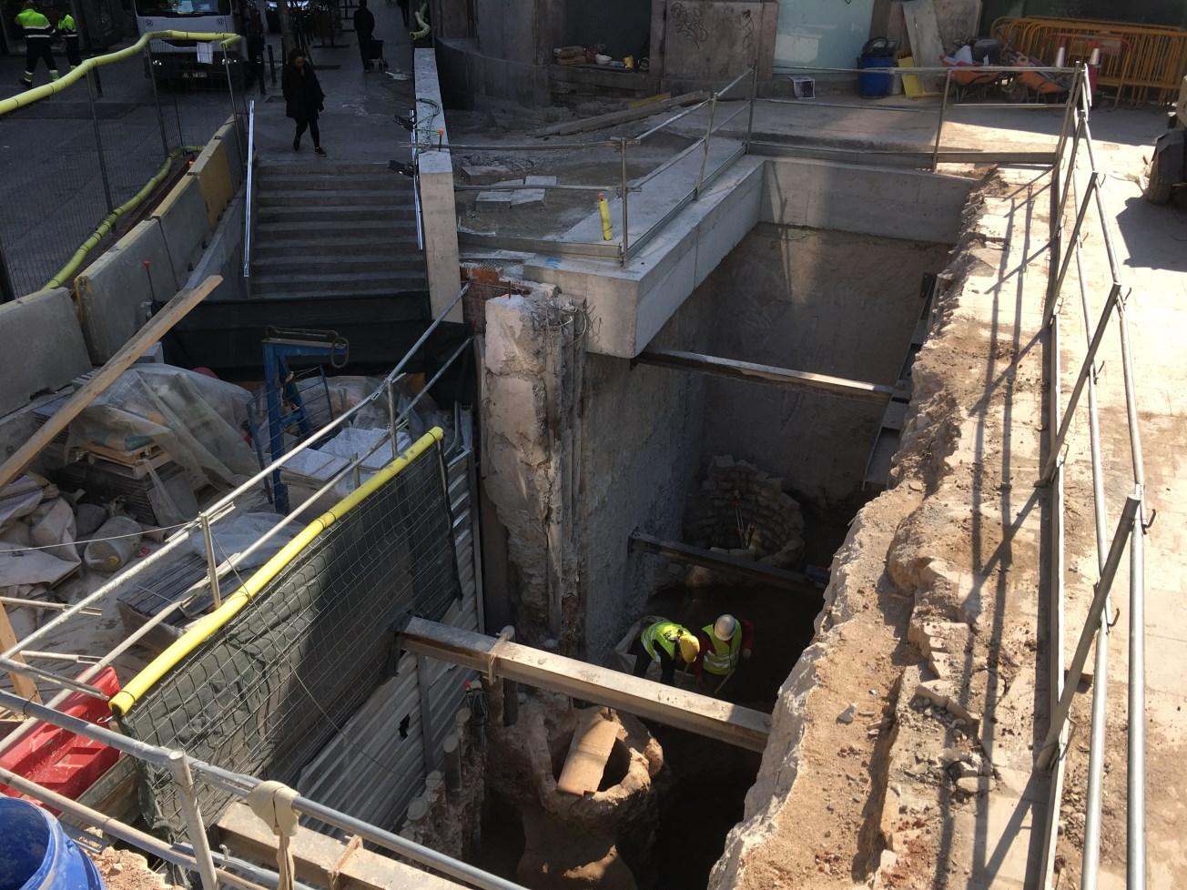 Espai de treball a la cruïlla de Via Laietana amb el carrer d'Argenteria. Foto: Joan Piera