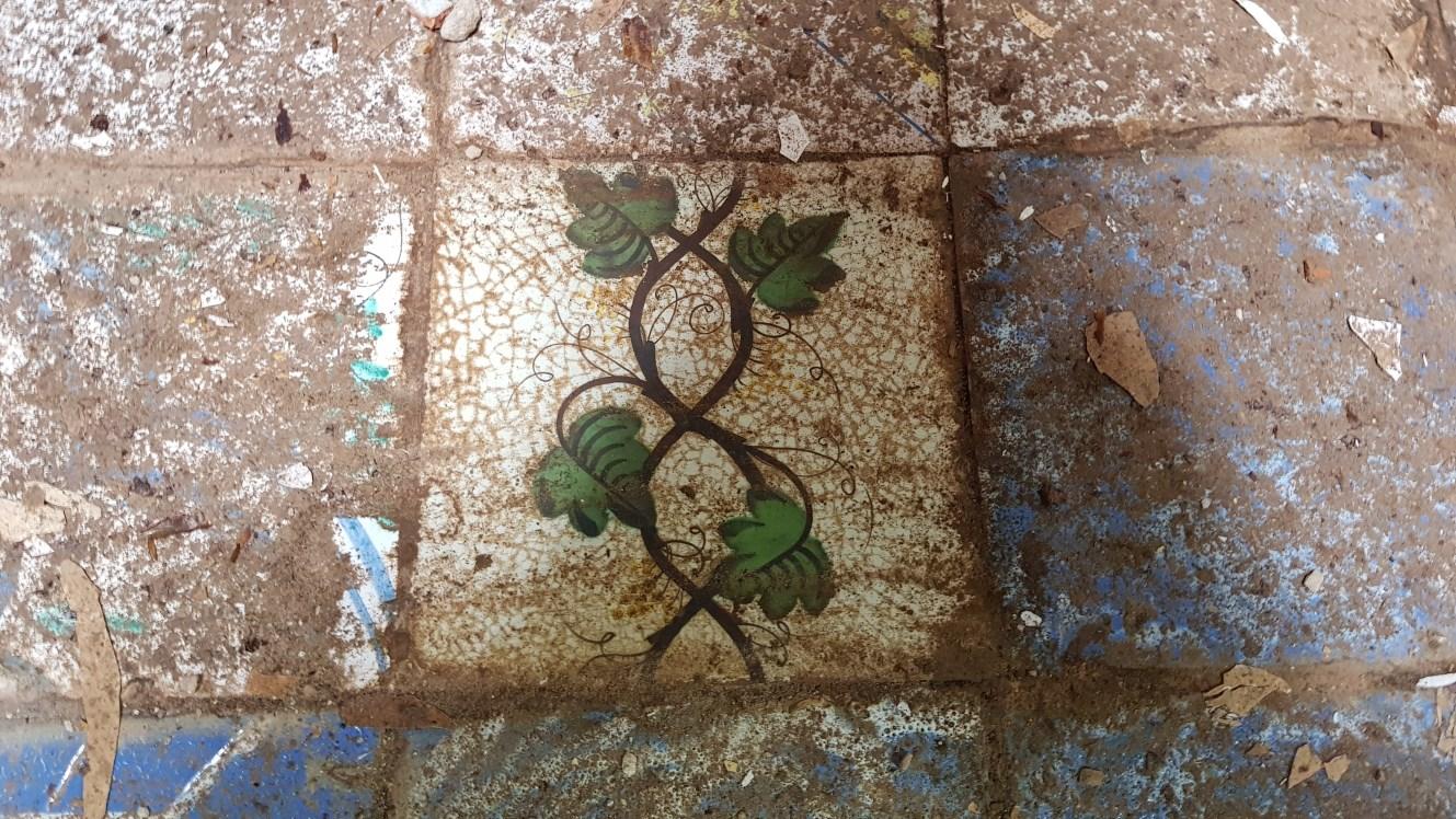 Foto detall d'una rajola amb decoració vegetal. Foto: SABCN
