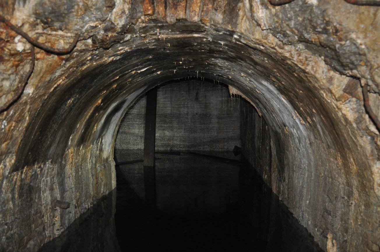Detall de la galeria d'accés al túnel circular, tota plena d'aigua. Al fons s'observa part del túnel circular. Foto: SABCN