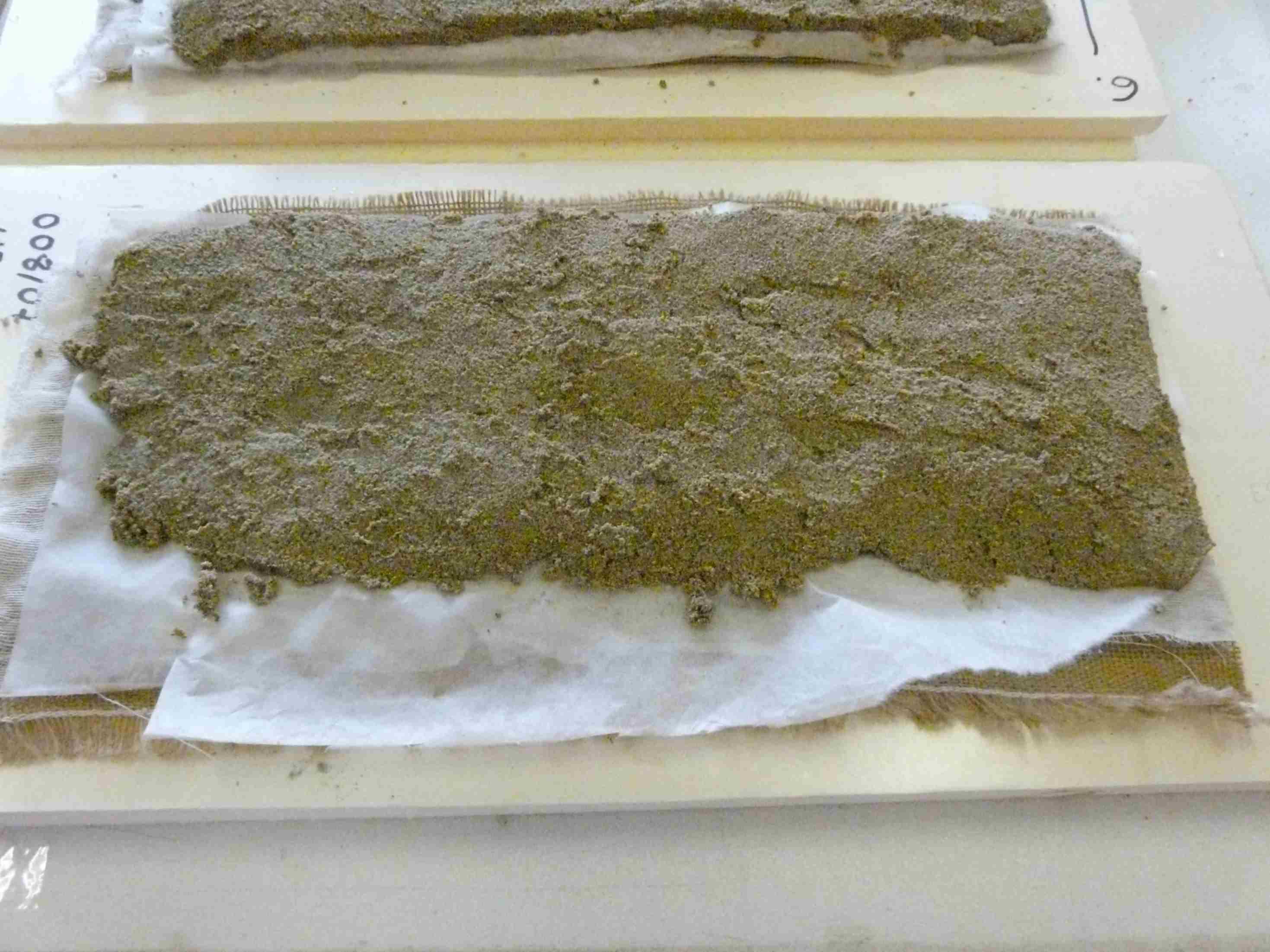 Detall del dessalatge amb polpa de paper i aigua destil·lada (Foto Servei d'Arqueologia)