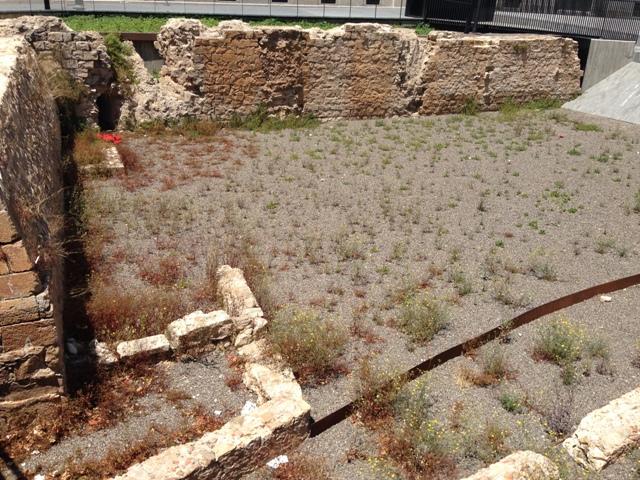 Aspecte de la muralla abans de la intervenció(foto: Servei d'Arqueologia).