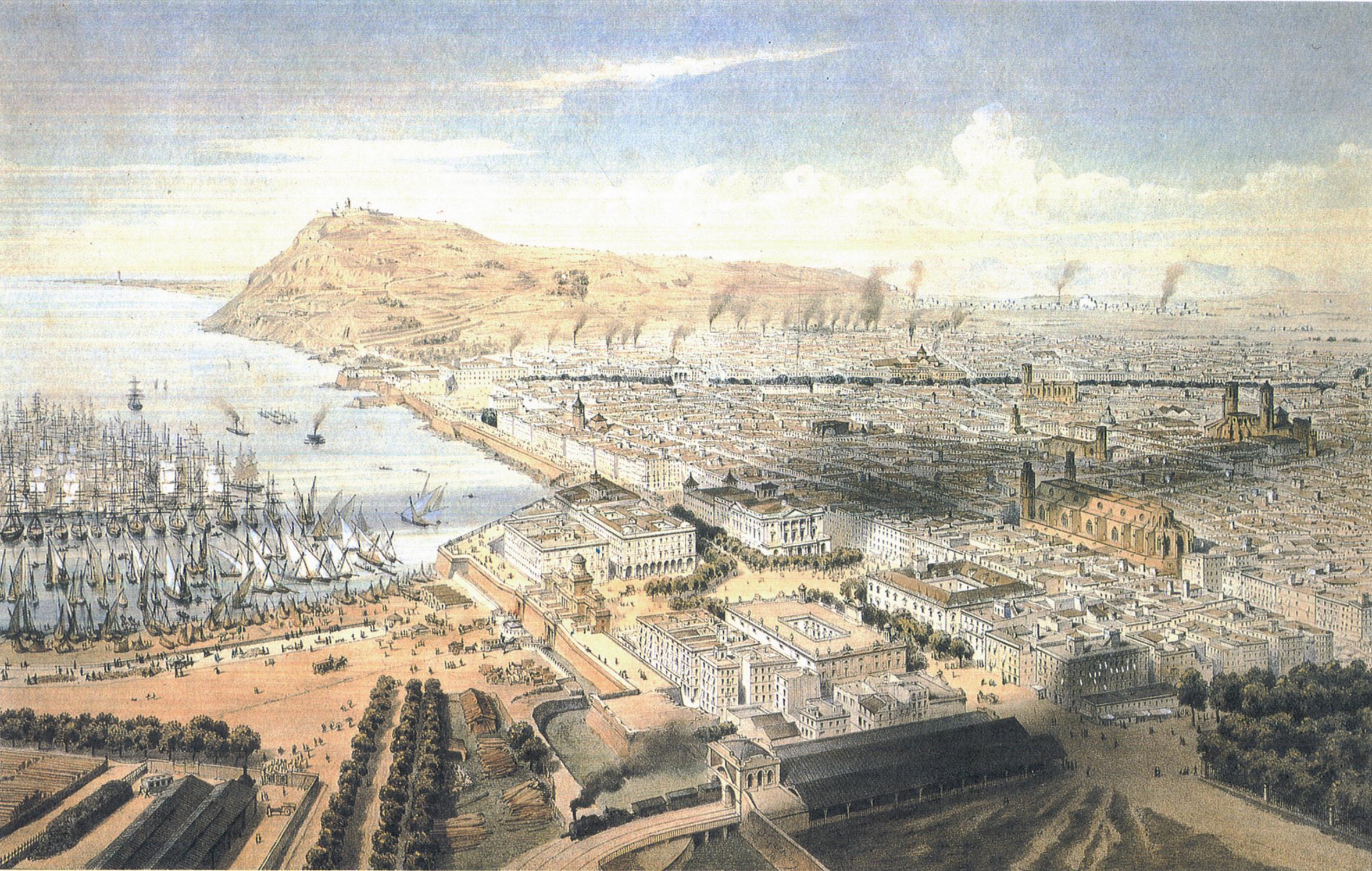 Vista de Barcelona d'Alfred Guesdon abans de l'enderroc de la muralla, amb el Baluard de Migdia i l'Estació de França a primer terme.