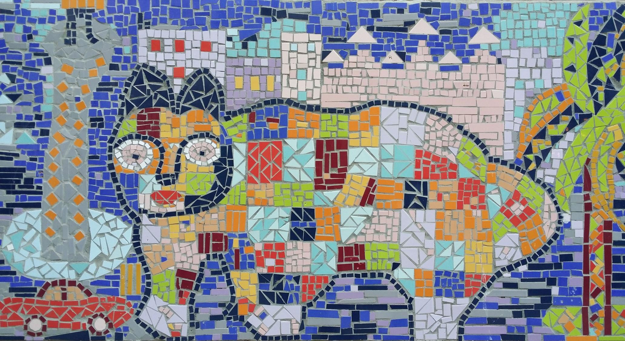 Ciutat Vella. C. Sant Pau 89. Mosaic de tessel·les. Foto: M. Molinas