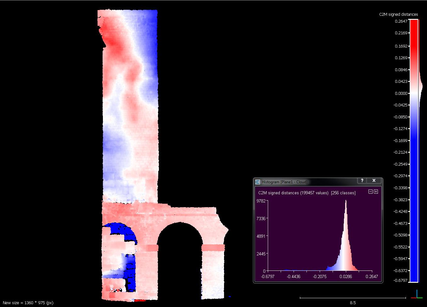 Termografia lateral esquerra de la torre 1 amb els desplaçaments i fissures. Imatge: Joan García Biosca