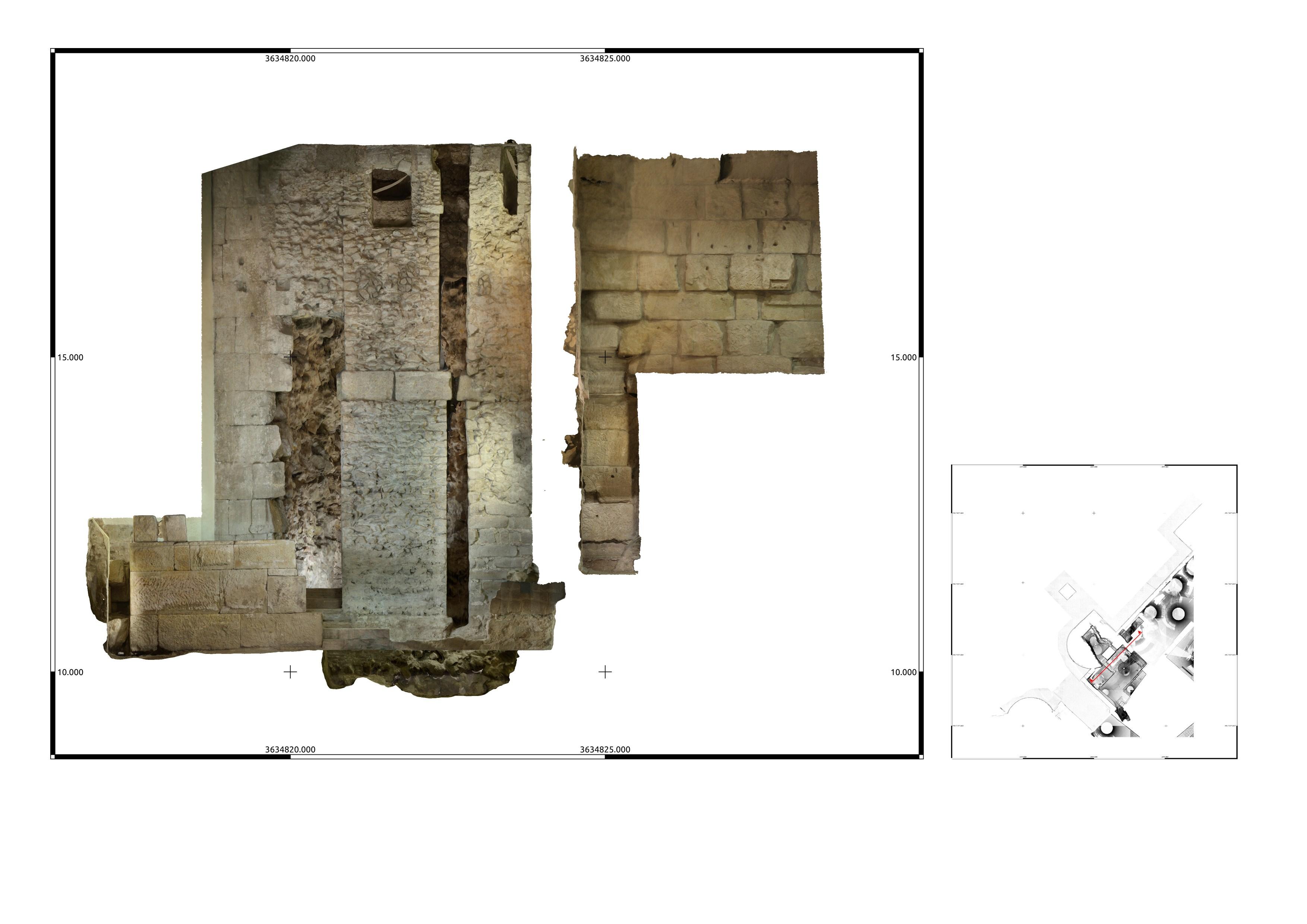 Escàner frontal 3D de l'interior de la torre 1 a la Casa de l'Ardiaca. Imatge: Joan García Biosca.