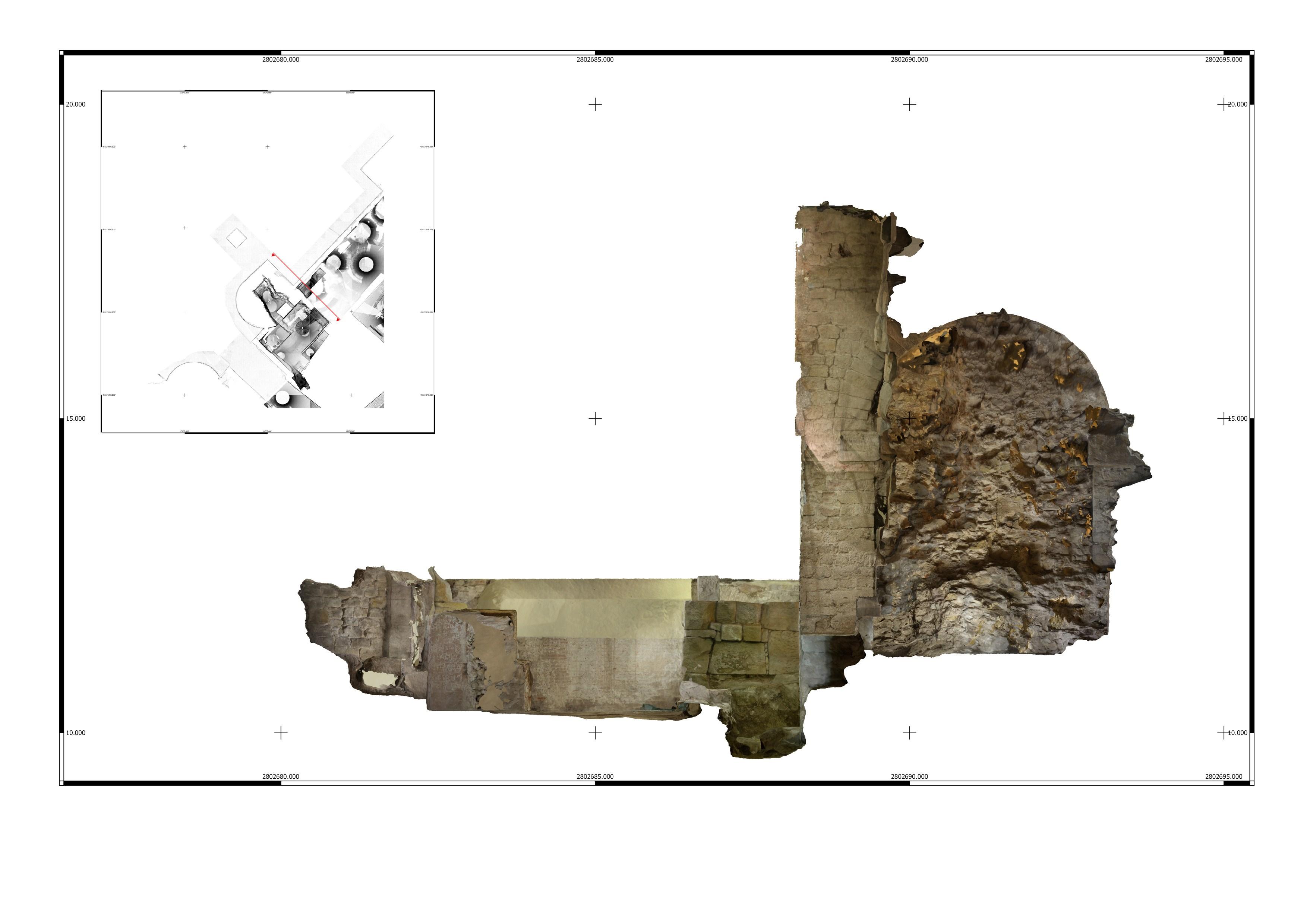 Escàner dret 3D de l'interior de la torre 1 a la Casa de l'Ardiaca. Imatge: Joan García Biosca.
