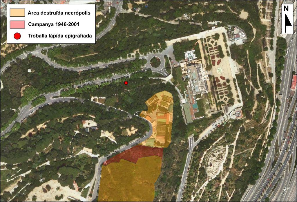 Localització de la làpida respecte a la necròpolis jueva de Montjuïc. Font: SABCN