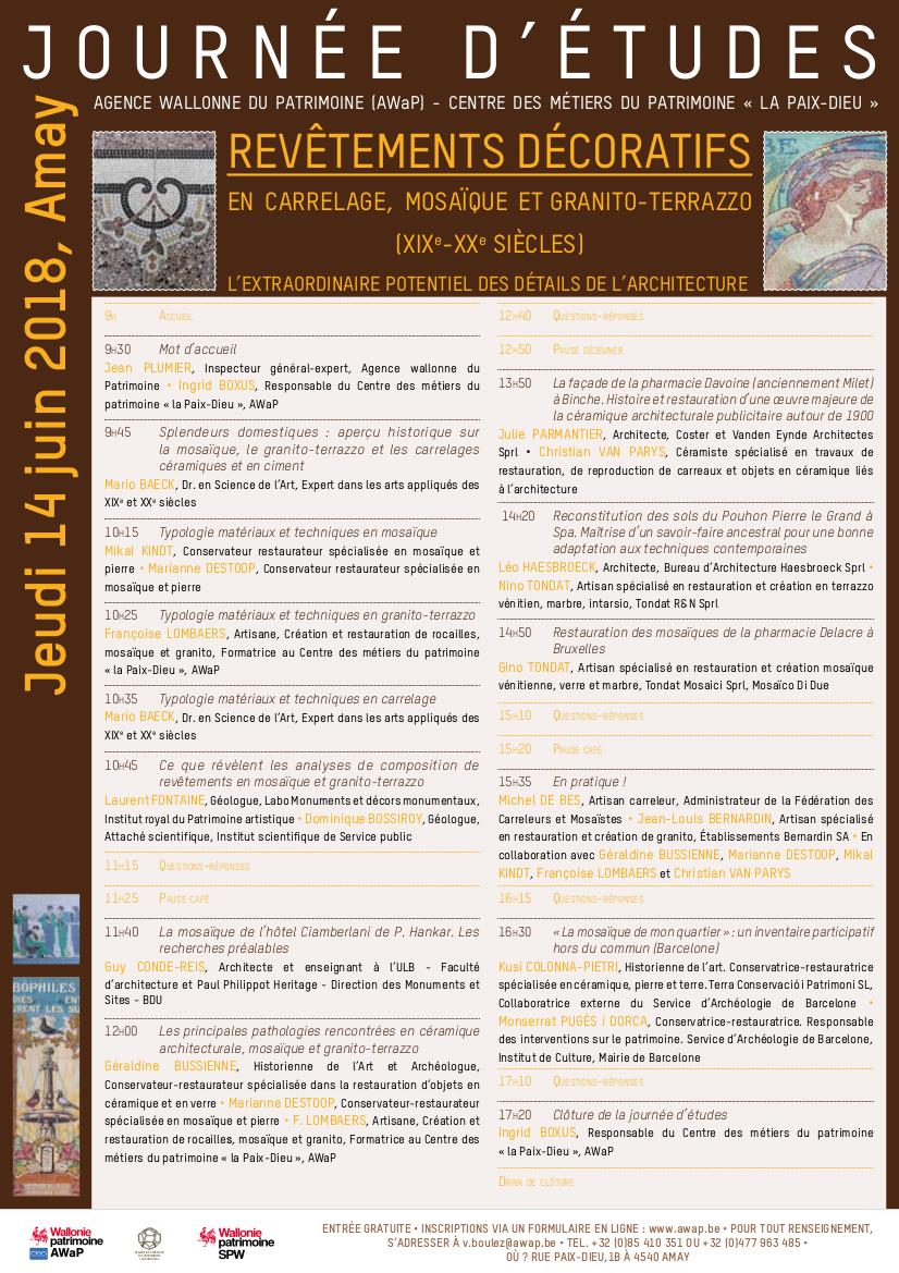 Programa de la jornada d'estudis sobre revestiments decoratius (Autor: Région wallone du Patrimoine).