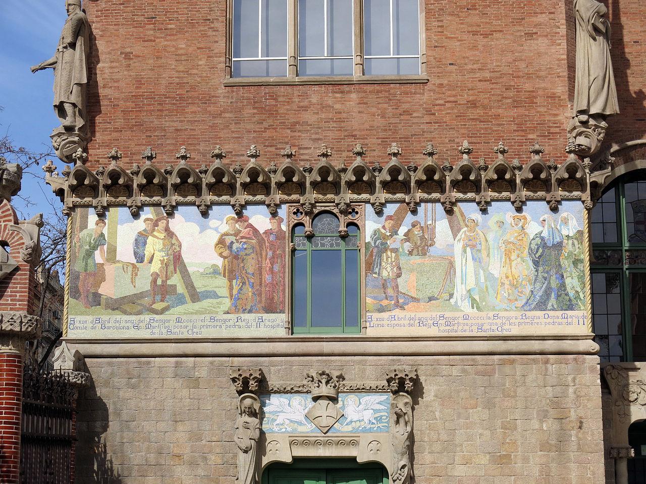 Panells de mosaic modernista de l'Hospital de la Santa Creu i Sant Pau restaurats l'any 2009. Foto: Àbac Conservació-Restauració