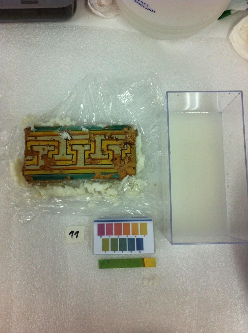 Neteja de les rajoles al laboratori. Foto: Roser Silvestre.