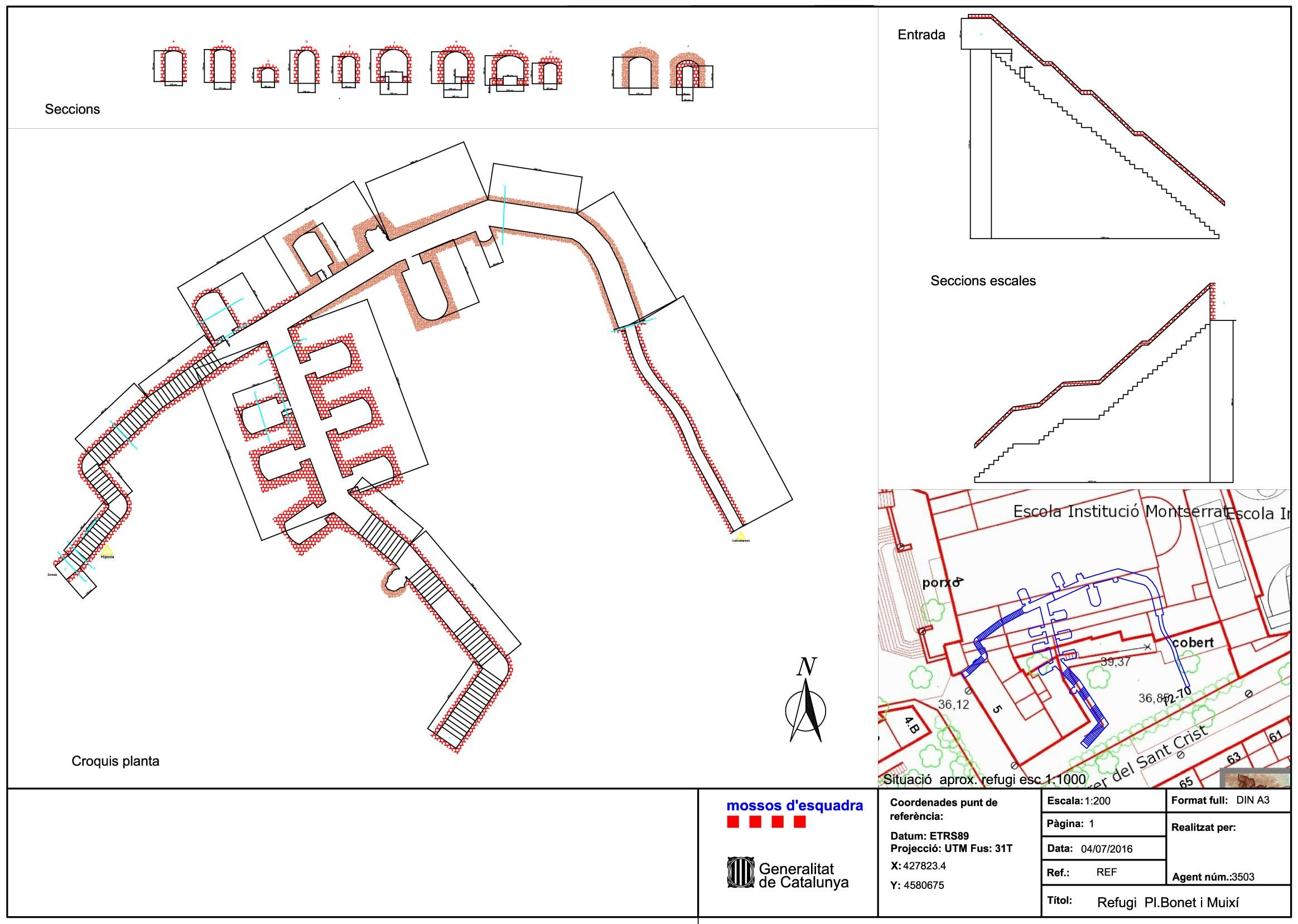 Plànol topogràfic del refugi antiaeri, realitzat per la Unitat de Subsòl dels Mossos d'Esquadra.