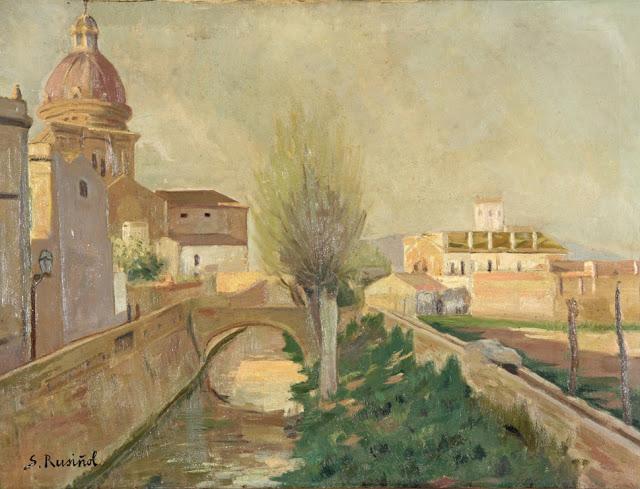 El Rec Comtal per darrere de l'església de Sant Andreu de Palomar. Obra de Santiago Rusiñol (1861-1931). Imatge extreta del web