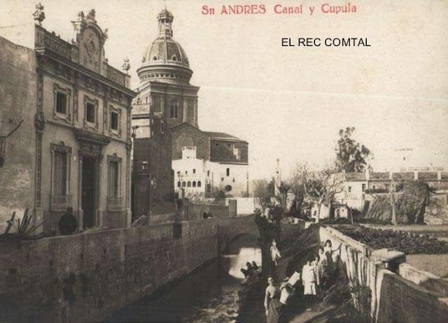 Postal amb el Rec Comtal passant per darrere de l'església de Sant Andreu, actual carrer del Cinca (1910-1920). Imatge extreta del web