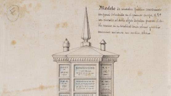 Plano de un modelo de urinario publico