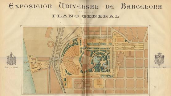Plànol general de l'Exposició Universal de Barcelona amb localització senyalitzats.