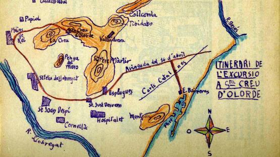 Dibuix d'un itinerari d'excursió escolar realitzat per un alumne. Grup Escolar Àngel Baixeres.