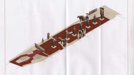 Plànol de situació de l'exposició dels guerres de Xi'an celebrada en el marc del Fòrum de les Cultures 2004
