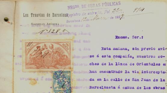 """Ofici de la SA de """"Tranvias de Barcelona"""" demanant solució al problema de la circulació a causa de la urbanització de carrers.1899"""