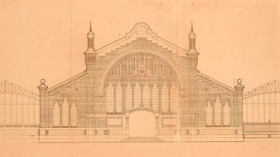 Façana principal del mercat del Porvenir (mercat del Ninot) segons el projecte de l'arquitecte Ignasi Colom que finalment no es va dur a terme. Gener de 1923