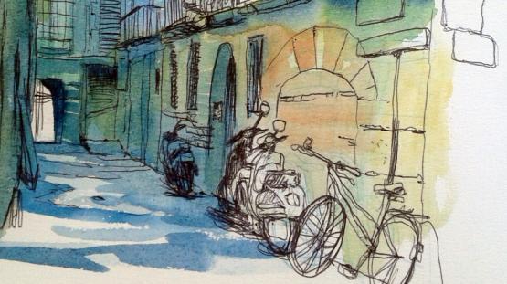 Il·lustració del carrer Bisbe Caçador edifici principal de l'AMCB