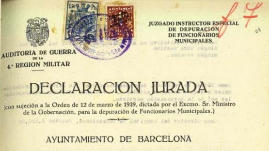 Encabezado de una declaración jurada del Juzgado Instructor Especial de depuración de Funcionarios Municipales. AMCB. Fons Ajuntament de Barcelona: F193 Represàlia política, núm. 107 de 1939.