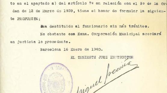 Proposal for the dismissal of civil servant Domingo Latorre Solé, 16 January 1940