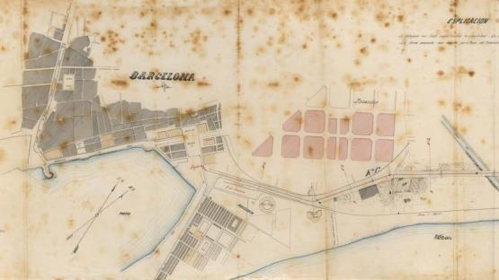 Fragment of the map of the Poblenou branch of the line from Gracia to La Barceloneta. 1864.
