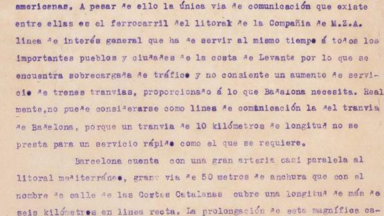Fragment of the report on the Suburban Railway (FC) in Badalona which shows the accommodating attitude and the lack of investor interest of the Barcelona tram company. 1922.