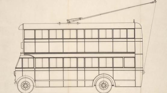 Lateral elevation of the first trolleybus model in Barcelona, type Maquitrans 'A', put into service in 1941, that circulated on the old bus line C between Parallel and Sant Andreu, transformed into a trolleybus due to lack of fuel. 1940.