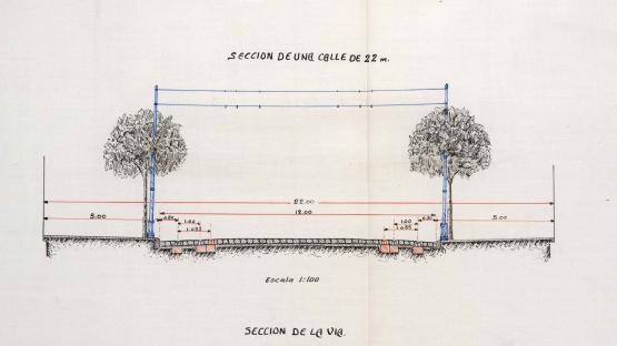 Detail of the plan of transversal profiles and route sections of the 'Prolongación a San Martín y Badalona' (Extension to San Martín and Badalona) presented by the Compañía Nacional de Tranvías (National Tram Company). 1917.