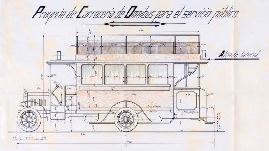 Elevation of the omnibus with a thermal motor proposed by Juan Miguel Gallart in his project of a bus line between Passeig de la Duana and the corner of Claris/Còrsega through Carrer Pau Claris. 1919.