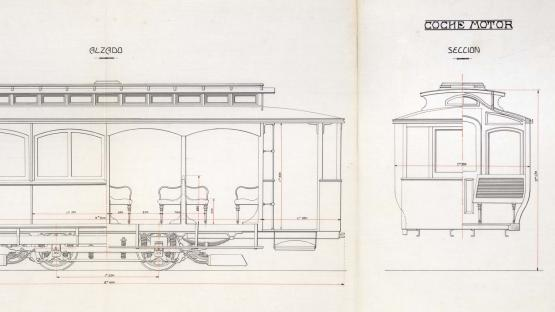 Elevation and section of the 'panxut' type tram car used on the Barcelona network from 1903. Compañía Nacional de Tranvías (National Tram Company). 1917