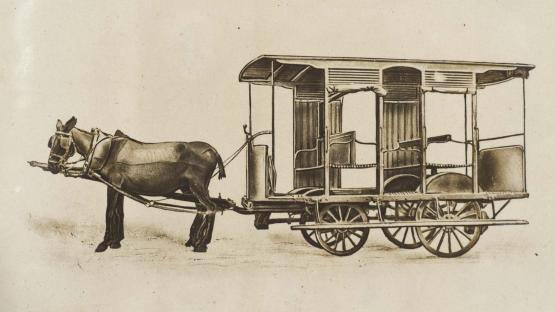Model of the Ripert omnibus system: closed car and window box. According to Pedro Nicolau Miguel's project for the Ripert line from Plaça d'Urquinaona to the end of Passeig de la Duana. 1907.