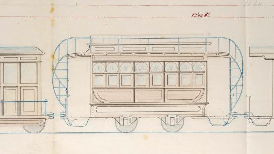 Fragment of a plan with elevations of animal-powered trams. The drawing represents an imperial car by the British firm Geo Starbuck. 1875.