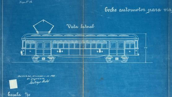 Lateral view of the railcar planned for the suburban railway project from Barcelona to Badalona. Santiago Rubió. 1922.