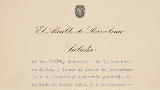 Missive from the mayor of Barcelona, José María de Porcioles, to the manager of ATUSA (Urban Transport Assistant) in which he recommends a company. 1958.