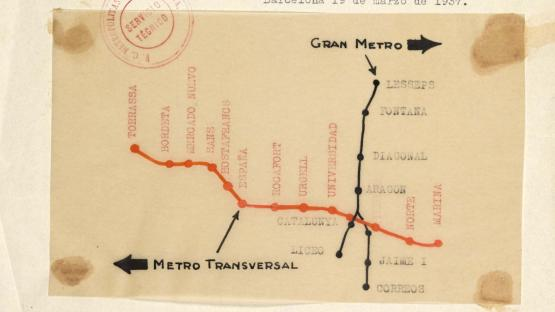 Proposal for signage for metro access at Plaça de Catalunya opposite Hotel Colón in order to direct passengers. Some changes in the names of stations should be noted, such as Torrassa instead of Bordeta-Cocheras. 1937.