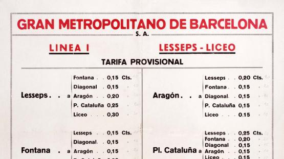 Advertisement showing the fare chart for Gran Metro. 1926.