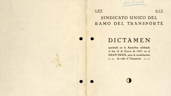 Imprint of the Ruling of the proposals put forward by the Sindicato Único del Ramo del Transporte (Unified Union, Transport Branch) for the socialisation of transport. 1937.