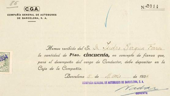 Receipt for the amount deposited in the form of a bond by an applicant to be a driver for the Compañía General de Autobuses (General Bus Company) in order to be able to act as such. 1934.