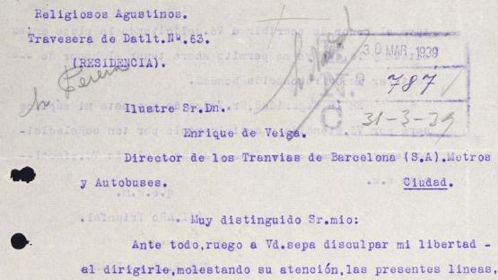Letter of recommendation for an applicant from a workplace addressed by a religious institution to the director of Tranvías de Barcelona. 1939.