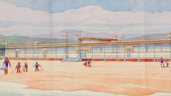 Il·lustració per un projecte d'edifici per a Banys Escolar a Castelldefels