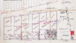 Plan of the site, facade, floor and section for building three houses at Carrer Josep Serrano 55. 1927