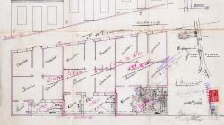 Plànol d'emplaçament, façana, planta y secció per construir tres cases al carrer Josep Serrano 55.